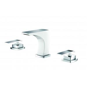 Mélangeur lavabo 3 trous chromé/blanc