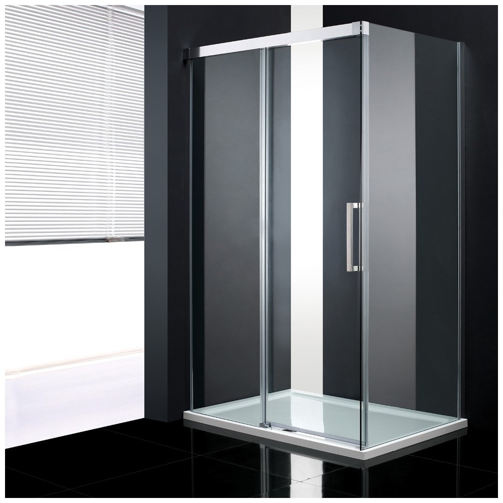 Paroi avec porte coulissante et paroi lat rale fixetrendy120 - Paroi de douche avec porte coulissante ...